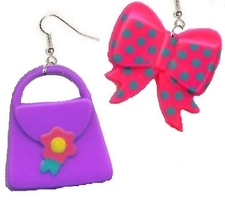 PURSE & BOW EARRINGS-Beautician Shopping Funky Novelty Jewelry - $4.97