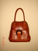 Anne Klein luxury line-Leather Bag with frontal pocket-Camel/Brown Color - $255.00