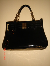 Anne Klein luxury line-Patent Leather Bag  with golden hardware - $260.00