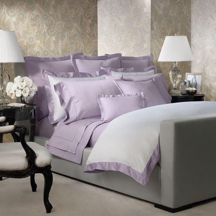 Ralph Lauren Langdon White Mayfair Violet King Duvet Cover