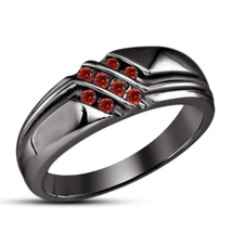 925 Sterling Real Silver Red Garnet Mens Wedding Band Ring 14k Black Gol... - $98.99