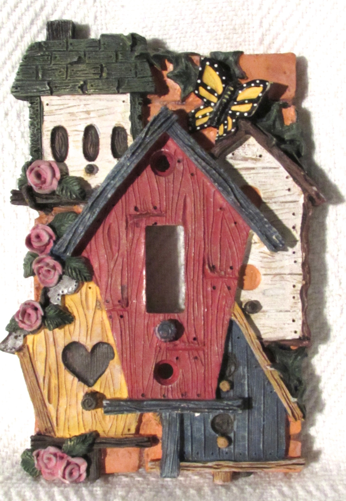 Fiji Graphics 3D Resin Single Light Switch Plate Cover of Unique Birdhouses