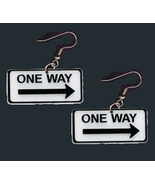 ARROW ONE WAY FUNKY EARRINGS-Traffic Street Sign Teacher Jewelry - $4.97