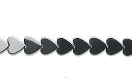 Hemalyke Hematite Flat Heart Beads 6mm, 1 16 in Strand (70)  gunmetal gray - $4.25
