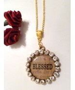 Large Bling Rhinestone Studded Blessed Pendant w Gold Plated Necklace - $9.89