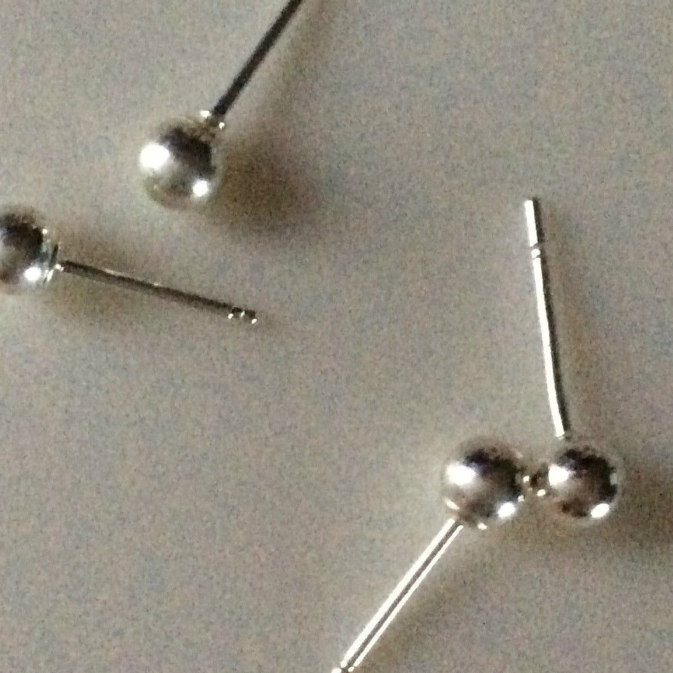 Primary image for NEW 925  Sterling Silver Ball Earring 4mm One Pair