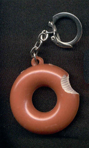 DOUGHNUT DONUT KEYCHAIN-Vintage Fun Junk Food Funky Jewelry-HUGE - $4.97