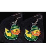 DUCKY LEPRECHAUN EARRINGS-DERBY-Shamrock Charm Funky Jewelry-DK - $4.97