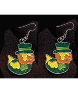 DUCKY LEPRECHAUN EARRINGS-TOP HAT-Cute Shamrock Charm Jewelry-DK - $4.97