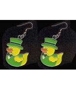 DUCKY LEPRECHAUN EARRINGS-TOP HAT-Cute Shamrock Charm Jewelry-LT - $4.97