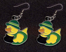 DUCKY LEPRECHAUN EARRINGS-POT O'GOLD DERBY-Charm Novelty Jewelry - $4.97