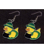 DUCKY LEPRECHAUN EARRINGS-POT O'GOLD DERBY-Charm Novelty Jewelry - $4.97