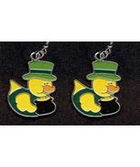 DUCKY LEPRECHAUN EARRINGS-POT O'GOLD TOP HAT-Fun Novelty Jewelry - $4.97