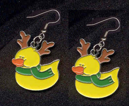 DUCKY REINDEER EARRINGS-RUDOLPH-Cute Holiday Charm Funky Jewelry - $4.97