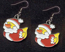 DUCKY SANTA EARRINGS-Cute Christmas Holiday Charm Funky Jewelry - $4.97