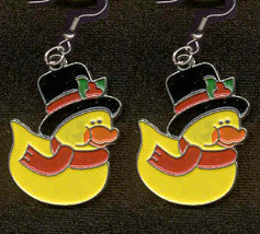 DUCKY SCROOGE EARRINGS-Fun Holiday Novelty Charm Costume Jewelry - $4.97