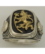 10k Gold Norse Lion  Sterling Silver Mens Signet ring - $118.00