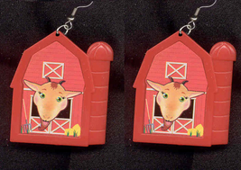 GOAT BARN EARRINGS-Country Farm Animal Farmer Funky Jewelry-HUGE - $4.97