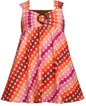 Bonnie Jean Little Girl 2T-6X Multicolor Bias Dot Print Knit Babydoll Dress