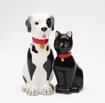 MAGNETIC SALT PEPPER SHAKERS GOOD FRIENDS DOG CAT - $10.88