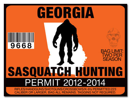 Sasquatch hunting permit license decal sticker f150 sled for Georgia out of state fishing license