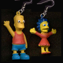BART & LISA FUNKY EARRINGS-The Simpsons Cartoon Novelty Jewelry - $6.97