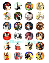 halloween witches pinup girls collage sheet clipart digital download 1.5... - $3.99