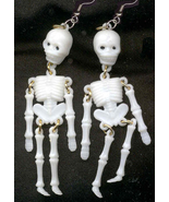 SKELETON EARRINGS-Jointed Punk Anatomy Funky Go... - $8.97