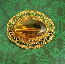 Antique Victorian Golden Topaz Brooch Large beautiful filigree frame C clasp - $110.00