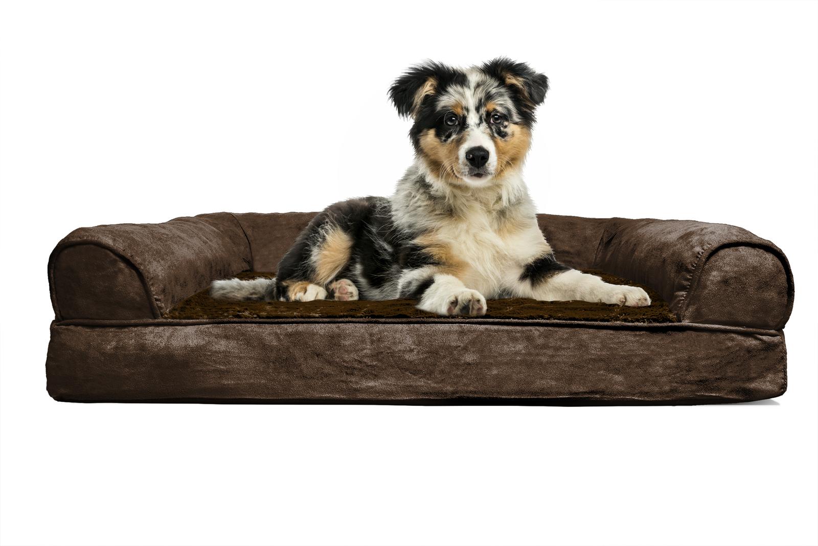 Furhaven Plush Suede Orthopedic Sofa Pet Bed Fur Haven Pet