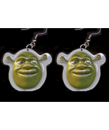 SHREK EARRINGS-Punk Ogre Monster Charm Funky Novelty Jewelry-BIG - $6.97