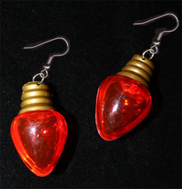 Christmas LIGHT BULB EARRINGS-Holiday Novelty Jewelry-HUGE-RED - $6.97