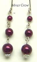 Graduated Maroon Glass Pearl Dangle Earrings - $8.99