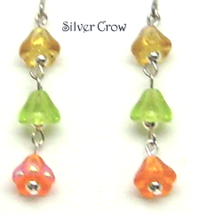 Yellow Orange Lime Green Flower Drop Earrings - $9.99