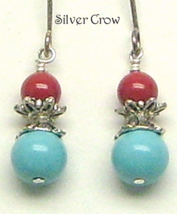 Red Jasper Turquoise Glass Pearl Earrings - $8.99