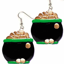 POT O'GOLD EARRINGS-Leprechaun Lucky Charm Funky Novelty Jewelry - $6.97