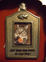 Gloria Duchin Pewter Photo Ornament Cats Leave Paw Prints on Your Heart - $14.99