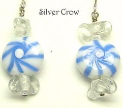Blue Lamp Work Peppermint Candy Earrings - $10.99