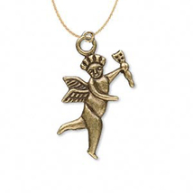 CUPID PENDANT NECKLACE-Angel w-Arrow Gold Charm Funky Jewelry - $3.97