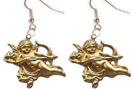 CUPID EARRINGS-Gold Cherub Bow/Arrow Funky Charm Jewelry-FLYING - $6.97