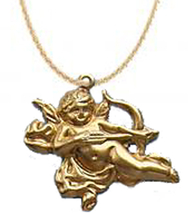 CUPID PENDANT NECKLACE-Gold Bow/Arrow Funky Charm Jewelry-FLYING - $6.97