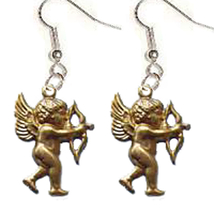 CUPID EARRINGS-Gold Cherub Bow/Arrow Funky Charm Jewelry-AIMING - $6.97
