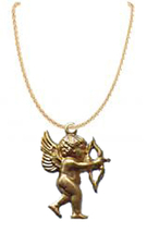 CUPID PENDANT NECKLACE-Gold Bow/Arrow Funky Charm Jewelry-AIMING - $6.97