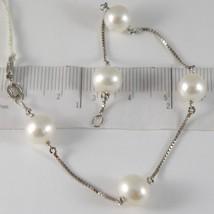 Bracelet White Gold 750 18K, White Pearls Diameter 8-9 mm, Chain Venetian - $401.05