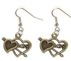 ARROW 2-HEART EARRINGS-BFF Gold Love Charm Funky Novelty Jewelry - $6.97