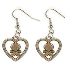 CHILD-at-HEART EARRINGS-Gold Love Charms Funky Novelty Jewelry - $6.97