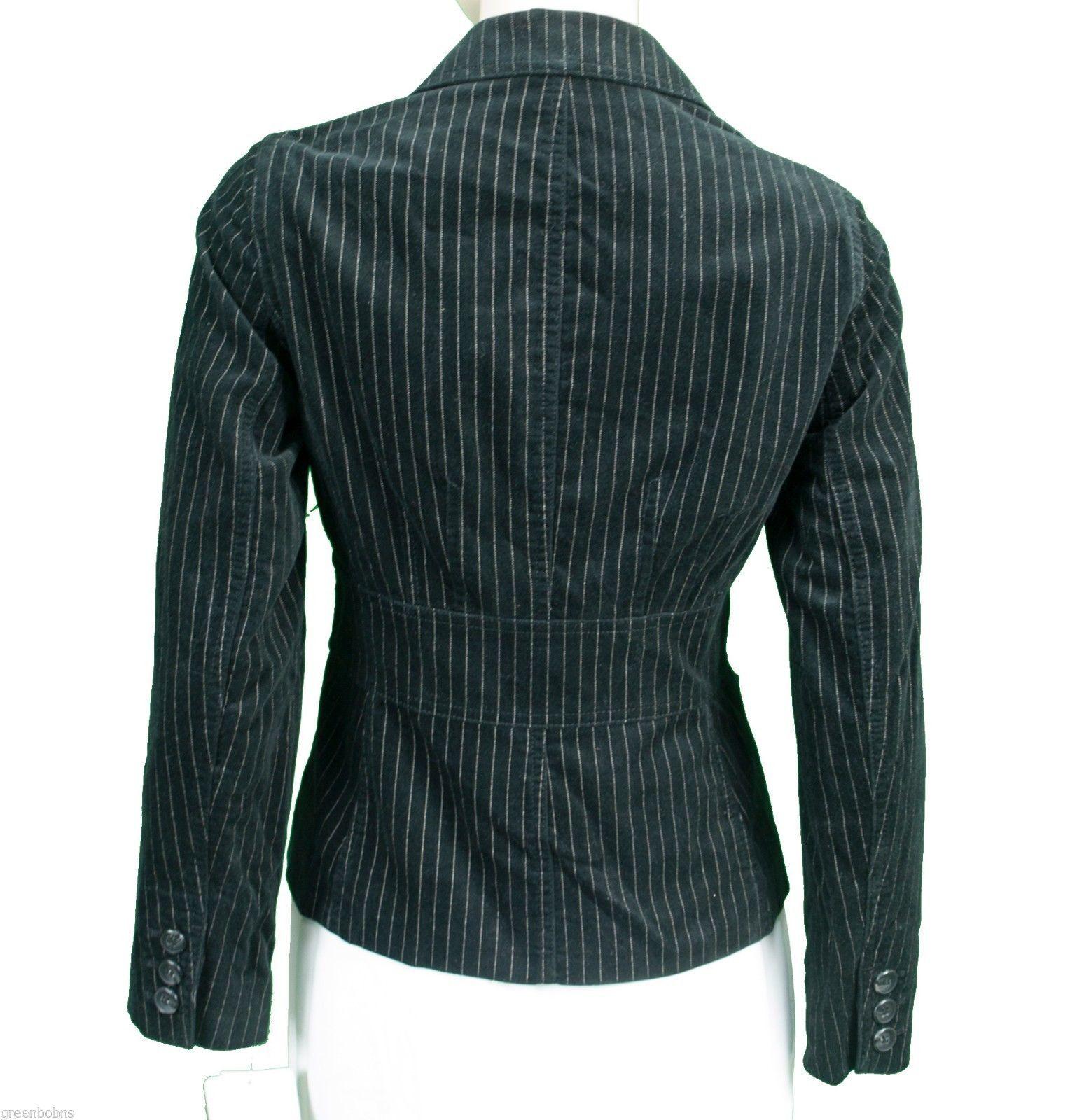 New! Jones New York Black Velvet Pinstripe Blazer Jacket M Pin Stripe zara h&m