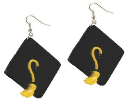 GRADUATION CAP FUNKY EARRINGS-Black Teacher Novelty Jewelry-HUGE - $3.97