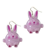 BUNNY EARRINGS-Easter Rabbit Novelty Charm Funky Jewelry-PINK-LG - $6.97