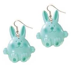 BUNNY EARRINGS-Easter Rabbit Novelty Charm Funky Jewelry-AQUA-LG - $6.97